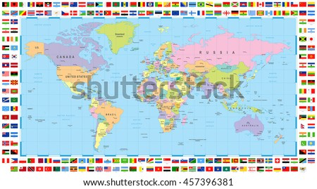 World map flags stock images royalty free images vectors colored world map and flags gumiabroncs Gallery