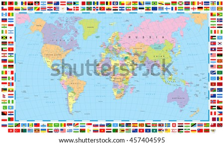 Colored World Map and Flags   - stock vector