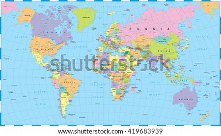 Colored World Map - borders, countries and cities - illustration Highly detailed colored vector illustration of world map. - stock vector