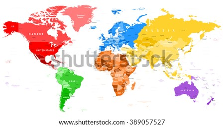 Colored world map borders countries cities vector de stock389057527 colored world map borders countries and cities illustration highly detailed spot colored illustration gumiabroncs Gallery