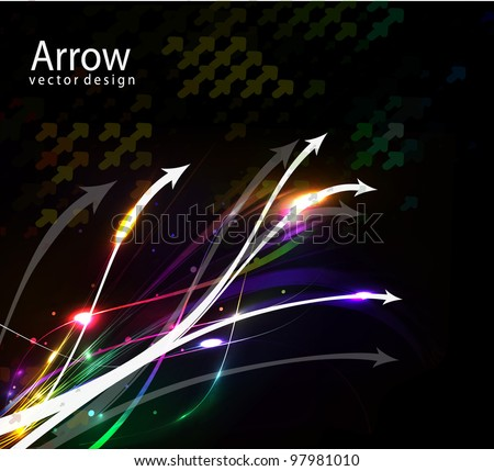 Colorful abstract arrow wave vector background. - stock vector