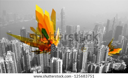 Colorful abstract art on the city - stock vector