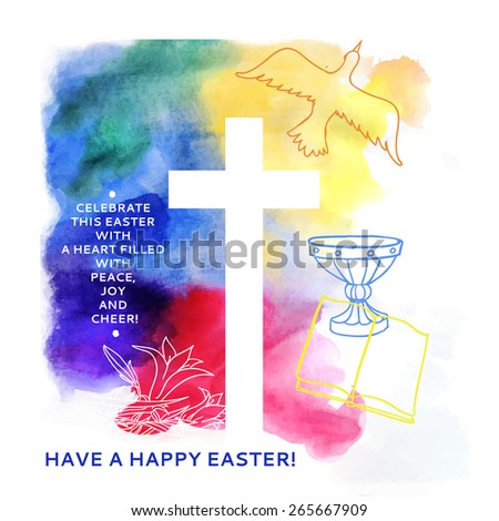 colorful abstract background includes happy easter words - stock vector