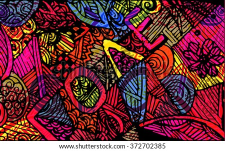 colorful abstract background, vintage retro geometric design, grungy. paint strokes. line - stock vector