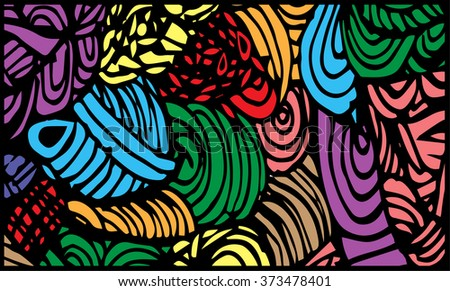 colorful abstract background, vintage retro geometric design, grungy. paint strokes. line vector - stock vector