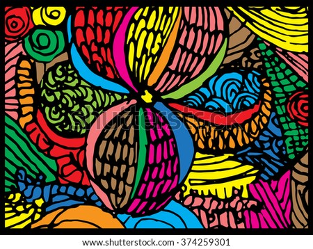 colorful abstract background, vintage retro geometric design, grungy. paint strokes. line vector. Batik painting - stock vector