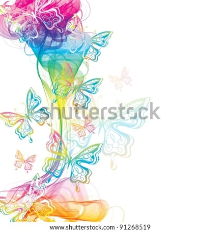 Colorful abstract background with butterfly and wave, vector, eps10