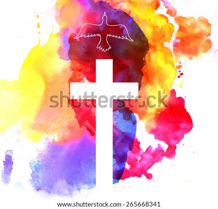colorful abstract background with cross and a bird - stock vector