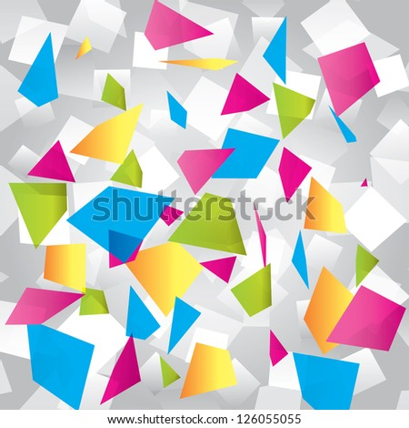 Colorful abstract background with geometrical figures. Different figures (pink, yellow, purple, green, blue, white, gray). - stock vector