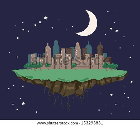 Colorful abstract city landscape floating in the night sky, vector illustration - stock vector