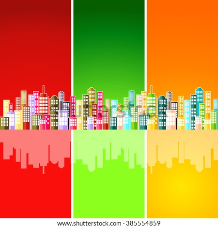 Colorful Abstract City Skyline Vector