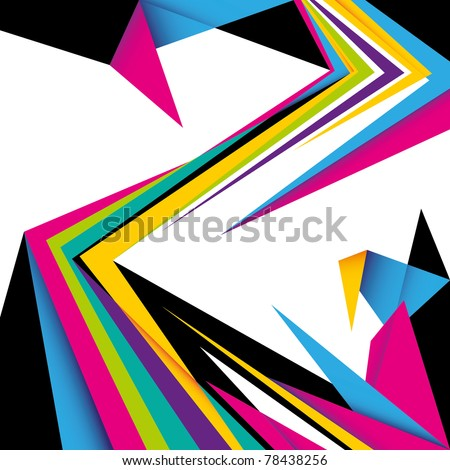 Colorful abstract composition with angular shapes. Vector illustration. - stock vector
