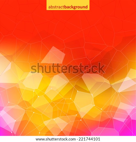 Colorful abstract crystal background. Ice, glass or jewel structure. Red and yellow bright colors. - stock vector