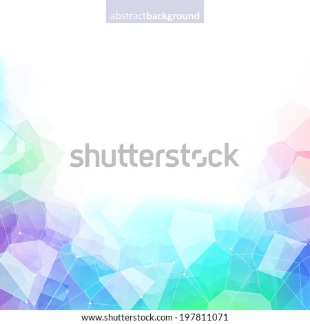 Colorful abstract crystal background. Ice or jewel structure. Green, purple and blue colors. - stock vector