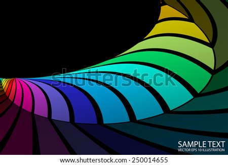 Colorful abstract curved background illustration - Vector abstract colorful striped  background illustration - stock vector