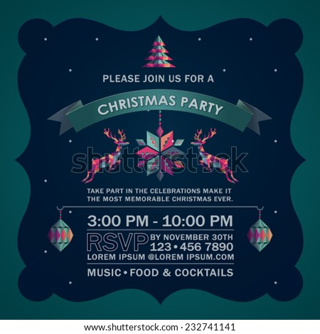 Colorful Abstract Deer Christmas Party Invitation Card. - stock vector
