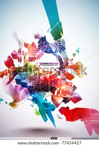 Colorful Abstract Digital Art - stock vector