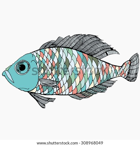 Colorful abstract fish. Vector. Isolated