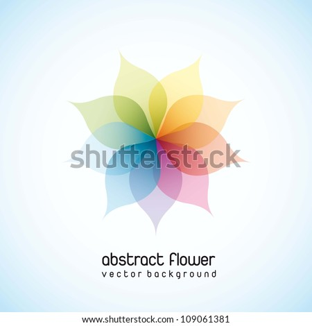 colorful abstract flower over blue background. vector illustration - stock vector
