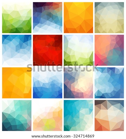 Colorful Abstract Geometric Background Set - Collection of 16 Polygonal Vector Designs - Ideal for backdrops, phone wallpapers