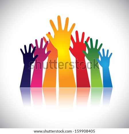 Colorful abstract hand vectors raised together showing unity. This unusual graphic also represents happy children playing, people at party, people asking help, employees protest and demonstration, etc - stock vector