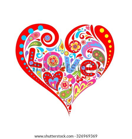Colorful abstract heart with love - stock vector