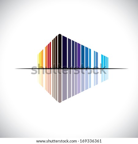 Colorful abstract icon of a commercial building architecture - vector graphic. This illustration of an modern office structure is in colors like red, orange, black, blue, etc - stock vector