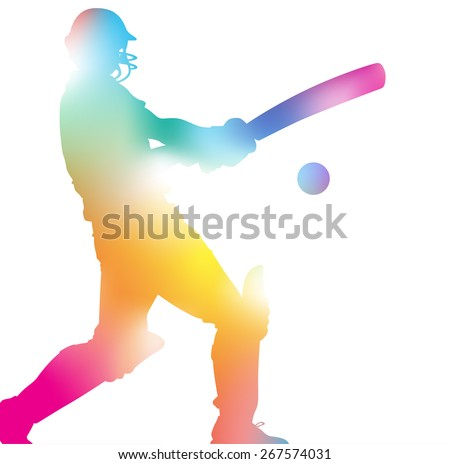 Colorful abstract illustration of a Cricket Player hitting a Six through a haze of summer blurs. - stock vector