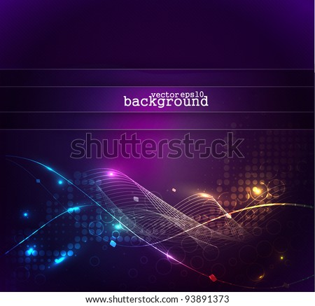 Colorful abstract light wave vector background. - stock vector
