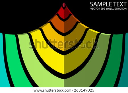 Colorful  abstract lighted pyramid illustration - Vector colorful striped pyramid  background  template - stock vector