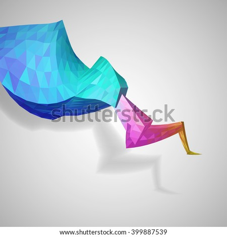 Colorful abstract  mosaic element on white background, vector eps 10 illustration - stock vector
