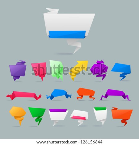 Colorful Abstract origami banners vector design element