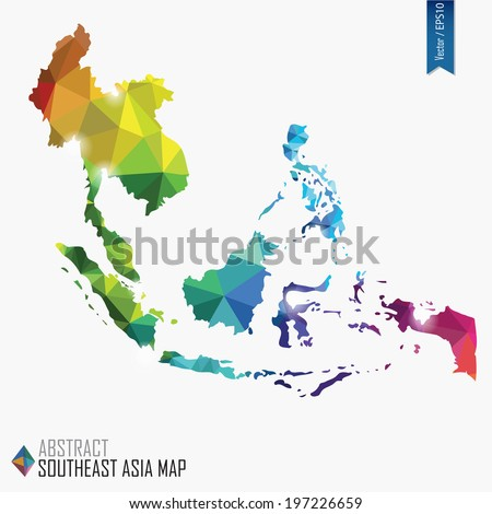 colorful abstract Southeast Asia map, vector illustration, mesh, triangles, delaunay, EPS10 - stock vector