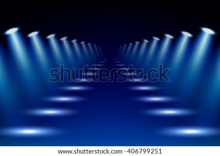 Colorful abstract spotlights gallery background vector illustration. - stock vector