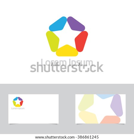 Colorful Abstract Star Symbol With Business Card Template - stock vector
