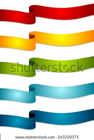 Colorful abstract tapes. Vector wavy ribbons - stock vector