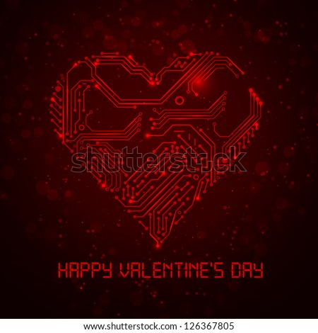 Colorful abstract technology heart. Valentine's Day image. Look at my portfolio to see more. - stock vector