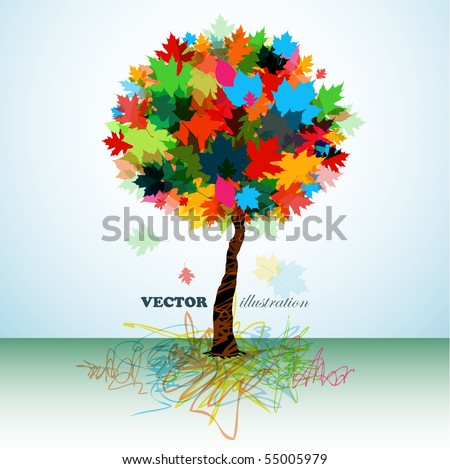 Colorful abstract tree - stock vector