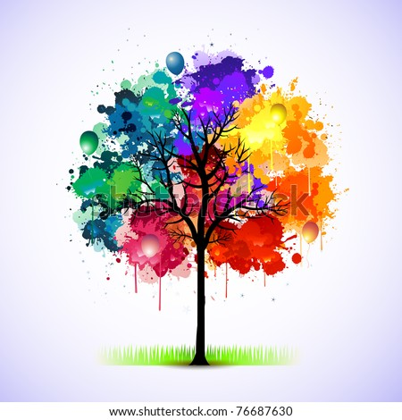 Colorful abstract tree background - stock vector