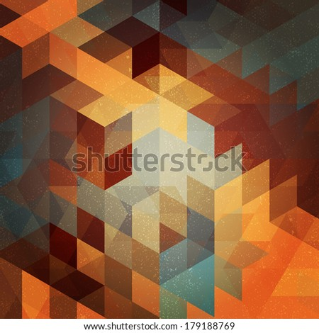 Colorful abstract triangle pattern with retro effect. Ideal as a background for the gadgets, websites, covers, or prints for interior. - stock vector