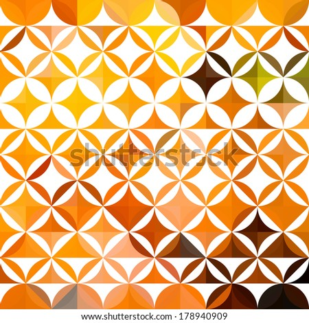 Colorful abstract triangular orange ethnic floral pattern - stock vector