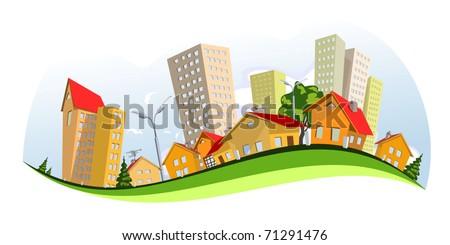 Colorful abstract vector city. Vector art - stock vector