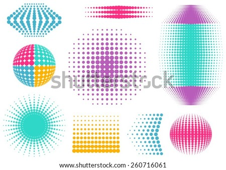Colorful abstract vector halftone design elements collection  - stock vector