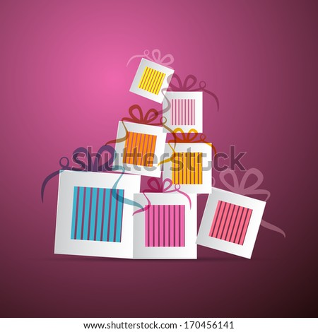 Colorful Abstract Vector Paper Gift Boxes on Violet Background - stock vector