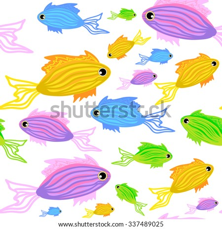 Colorful abstract vector seamless pattern with marine fish - stock vector