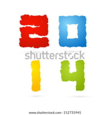 Colorful Abstract Vector  2014 Title Made From Splashes, Happy New Year Theme