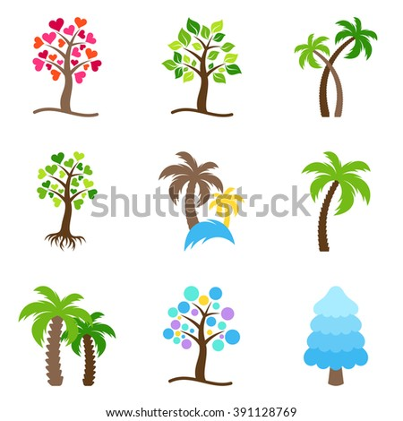 Colorful abstract vector tree icons collection isolated - stock vector