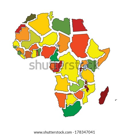 Colorful Africa fragment vector map with separated countries isolated on white background.  - stock vector