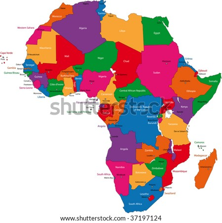 Colorful Africa Map Countries Capital Cities Stock Vector - Earth map countries and capitals