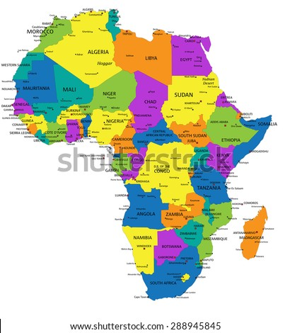 Colorful Africa political map with clearly labeled, separated layers. Vector illustration. - stock vector